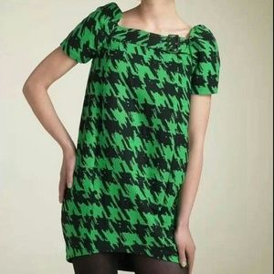 Marc by Marc Jacobs Green Hounds Tooth Dress